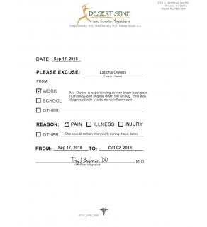 Clinic Note,Desert Spine