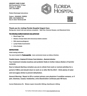 ER Note, Florida Hospital