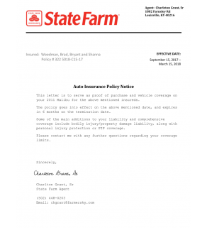 Insurance Policy, Verification Letter