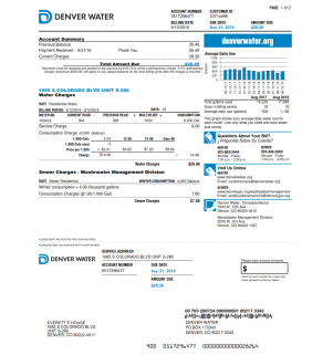 Water Bill, Denver Water