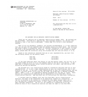 EIN/Tax ID Confirmation Letter