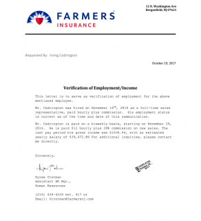 Stamped Letter, Income Verification