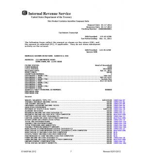 4506-T, Tax Transcript