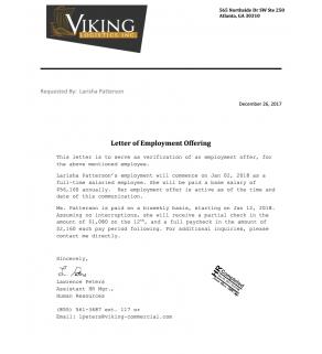 Ltr, VOE (employment)